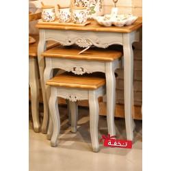 طقم طاولات تقديم -  لون رمادي بسطح خشبي - مع زخارف