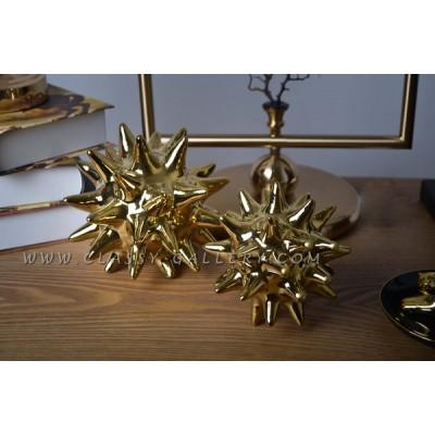 زينة طاولة سيراميك ذهبية اللون - كبير