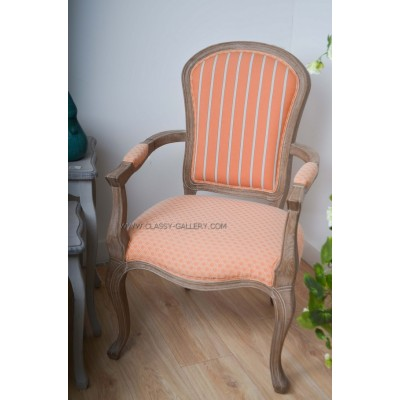 [PHAC1147] كرسي من خشب الأوك وقماش الكتان