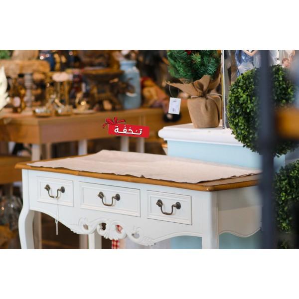 طاولة كونسول خشبي كلاسيك -  لون أبيض كريمي بسطح خشبي - مع زخارف