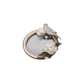 مرآة مزينة بديكور وردة مع حمامة