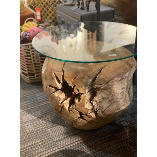 طاولة من خشب التيك 40 سم( جذع محفور) بسطح زجاجي